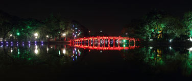 Red Bridge in Hoan Kiem Lake at Night Royalty Free Stock Image