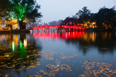 Red Bridge in Hoan Kiem Lake Stock Photos