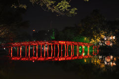Red bridge. In Hoan Kiem Lake at Night, Ha Noi, Vietnam Royalty Free Stock Image