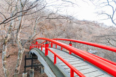 A red bridge in Ikaho Onsen on autumn is a hot spring town located on the eastern slopes of Mount Haruna , famous place of Gun. Ma Prefecture,Japan stock image
