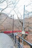 A red bridge in Ikaho Onsen on autumn is a hot spring town located on the eastern slopes of Mount Haruna , famous place of Gun. Ma Prefecture,Japan stock photos
