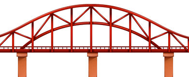 A red bridge. Illustration of a red bridge on a white background Stock Photography