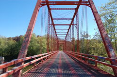 Red Bridge in Indiana. A red metal bridge in southern Indiana royalty free stock photography