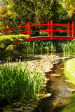 Red bridge. Irish National Stud's Japanese Gardens. Kildare. Ireland. A Red bridge. The Japanese Garden in the Japanese Gardens & Irish National Stud of Kildare stock images