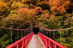 Red bridge, Kami No Iwahashi in Dakigaeri Valley - Senboku, Akita, Japan. Red bridge at Kami No Iwahashi in Dakigaeri Valley - Senboku, Akita, Japan stock image