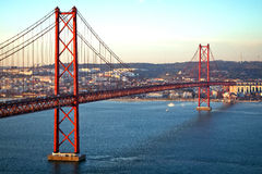 Red bridge, Lisbon, Portugal Royalty Free Stock Image