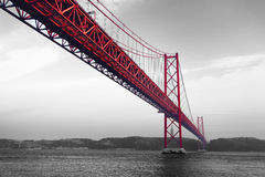 Red Bridge on a monochromatic background Stock Photography