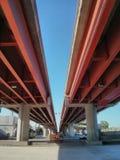 Red bridge. A bridge in Monterrey, Mexico Royalty Free Stock Image
