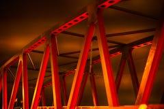 Red bridge at night. Red bridge a dark night stock photo
