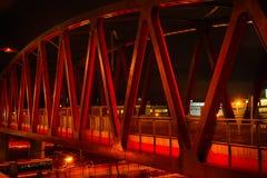 Red bridge at night. Red bridge a dark night stock photography