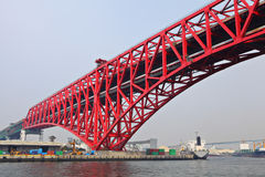 Red bridge in Osaka stock photography