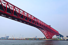 Red bridge in Osaka stock photos