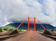 Red bridge over the fjord Stock Image