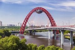 Red bridge over the Moskva river, Moscow Royalty Free Stock Photo