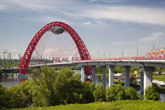 Red bridge over the Moskva river, Moscow Stock Image