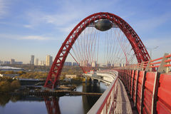 Red bridge over the Moskva river, Moscow Stock Photography