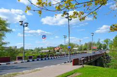 Red Bridge over River Polota monument of war of 1812, Polotsk, Belarus Royalty Free Stock Photos