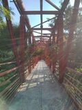 Red bridge. A bridge in a park Royalty Free Stock Image