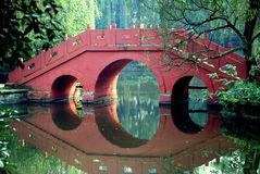 Red bridge and reflection Royalty Free Stock Image