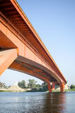 Red bridge on river sava royalty free stock images