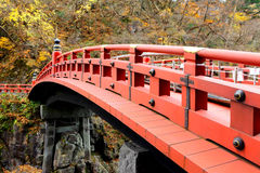 Red bridge Shinkyo in Japan Stock Photo