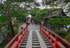 Red bridge to Godaido Temple royalty free stock images