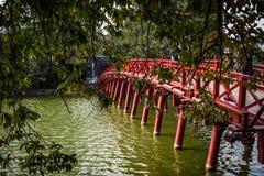 The red bridge to Ngoc Son temple Hanoi, Vietnam royalty free stock image