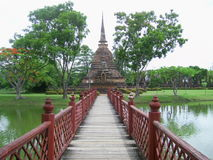 Red Bridge to Pagoda Royalty Free Stock Image