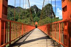 Red Bridge in Vang Viang Stock Image