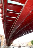 Red bridge in Venice Stock Photography