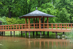 Red bridge with a view pavilion, yumedono bashi, in japanese gar Stock Photography