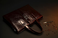 Red briefcase Stock Photography