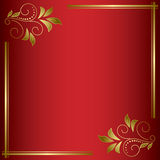Red bright vector card with golden frame Stock Photo