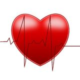 Red bright heart and cardiogram Royalty Free Stock Image