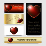 Red bright heart, Valentine's Day card design. Stock Images