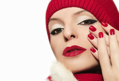 Red bright manicure. Stock Photography