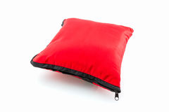Red bright pillow with zipper. Royalty Free Stock Photo