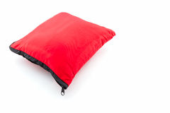 Red bright pillow with zipper. Royalty Free Stock Images