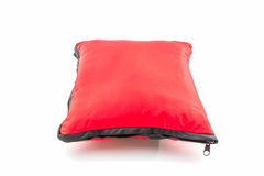 Red bright pillow with zipper. Stock Image