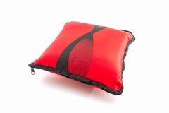 Red bright pillow with zipper. Royalty Free Stock Image