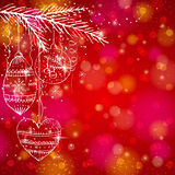 Red brightness background with christmas balls,  v Stock Photo