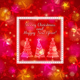 Red brightness background with forest of christmas. Trees, vector illustration Stock Photography