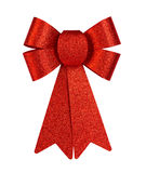 Red brilliant gift bow with glitter close-up isolated on a white background. Stock Photos