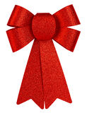 Red brilliant gift bow with glitter close-up isolated on a white background. Royalty Free Stock Photos