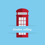 Red britain telephone box. Icon Royalty Free Stock Images
