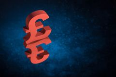 Red British Currency Symbol or Sign With Mirror Reflection on Blue Dusty Background royalty free stock photography