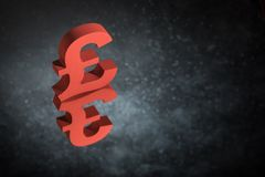 Red British Currency Symbol or Sign With Mirror Reflection on Dark Dusty Background royalty free stock photography