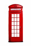 Red British telephone booth isolated on white Royalty Free Stock Photos
