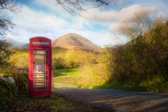 Red British Telephone Booth, Skye, Scotland Royalty Free Stock Images