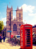 Red British telephone box in front of Westminster cathedral, London Royalty Free Stock Photos